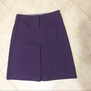 Boden Purple Cotton Twill Aline Casual Skirt 12 XL